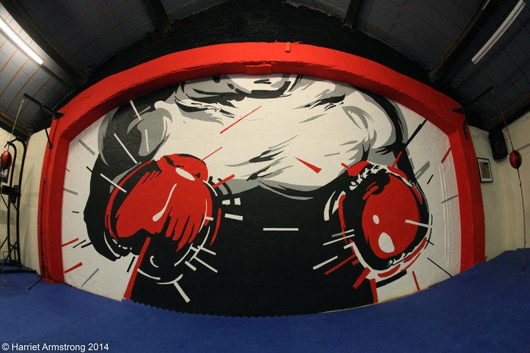 Revival Boxing mural Kong Studio gloves