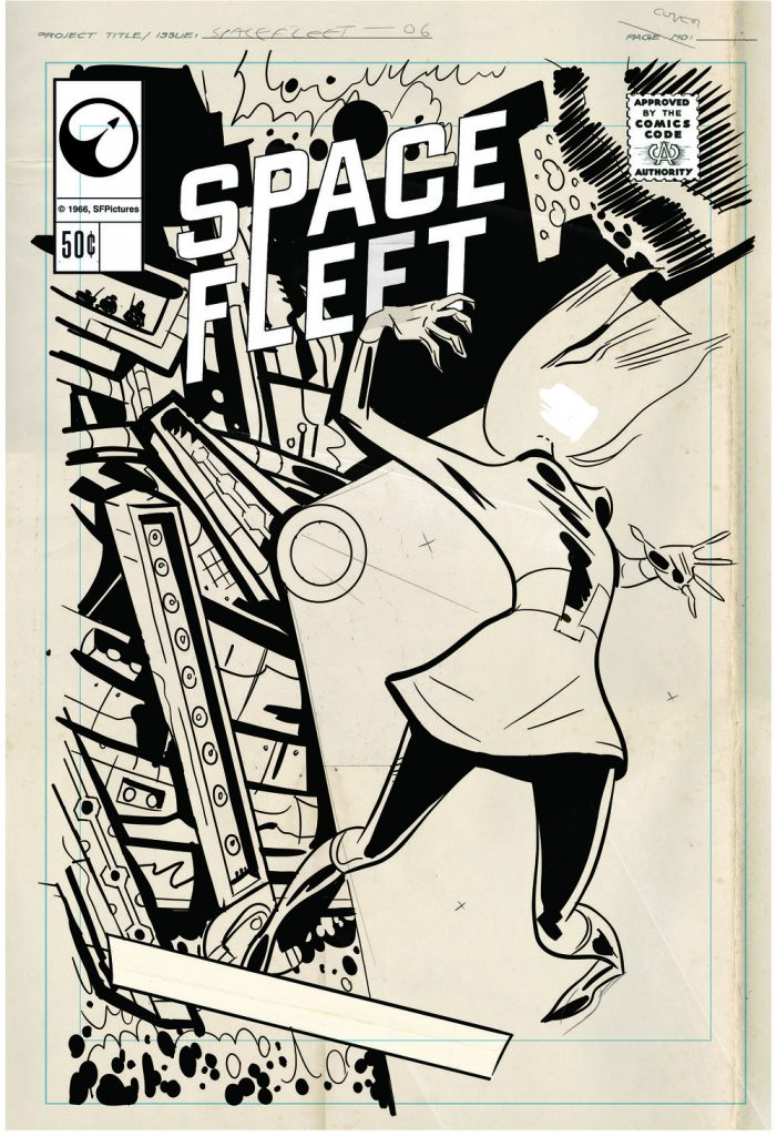 Black Mirror Space Fleet poster black and white