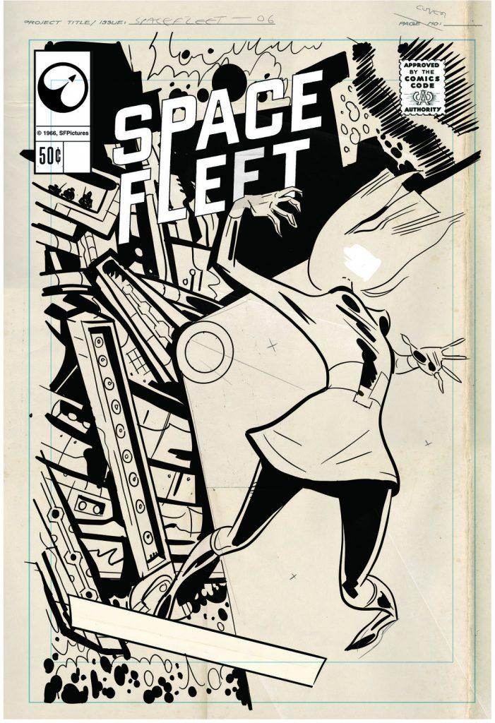 Black Mirror Space Fleet poster black and white